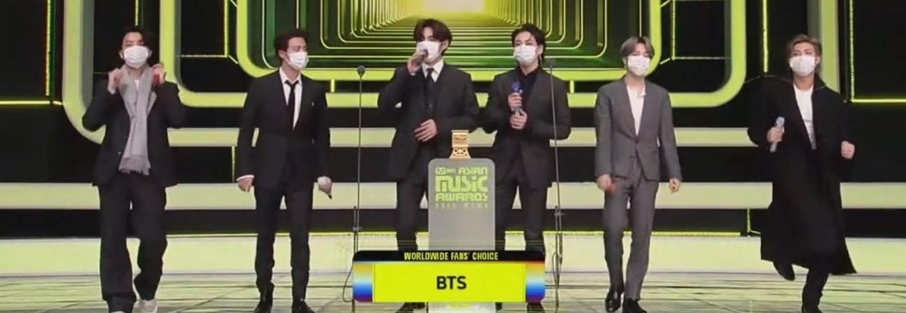 BTS gana en la categoria Worldwide Fans Choice TOP 10 en los MAMA 2020